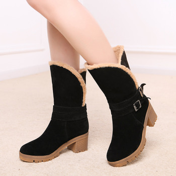 New women western style ankle boots Round Toe winter warm women Boots square platform snow boots Shoes woman