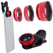 Universal Clip 3 in 1 Fish Eye Wide Angle Macro Fisheye Mobile Phone camera lenses For iPhone6 6s5s for Samsung for HTC Red