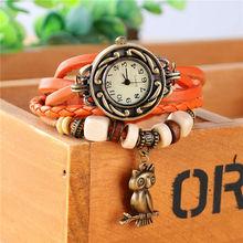 Nuevo diseño hechos a mano reloj de pulsera trenzada del buho de noche para mujer del reloj de Quarzt relojes Relogio Feminino