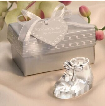 Free Shipping Wedding Favour Baby Favors Crystal Collection Cute Baby Shoe Gift Favor(China (Mainland))