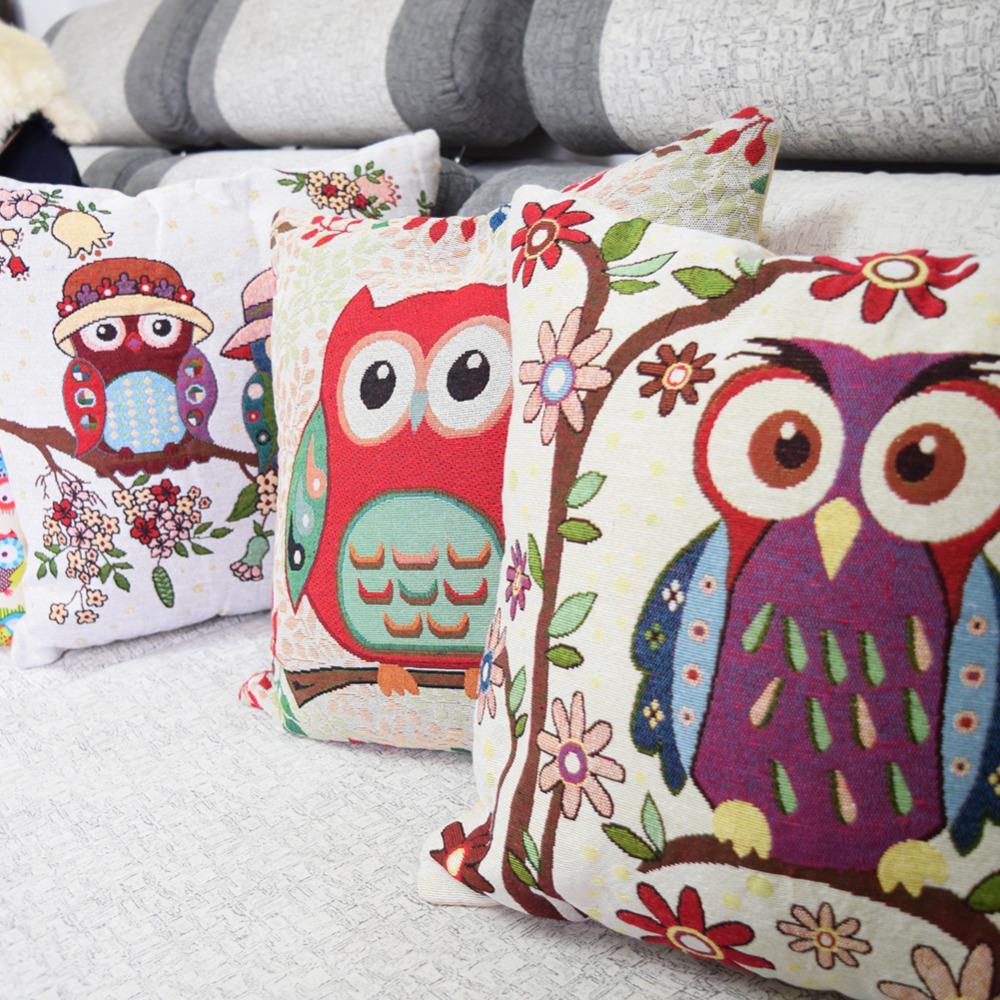 Clever owls cotton linen comfort kids bedding sets pillowcase new kids gift pillow cover Wedding(China (Mainland))