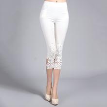 Plus Size 4XL Women Summer Lace Pants Crochet Rhinestone Skinny Stretch Cropped Leggings Trousers Capris Pants 5188(China (Mainland))