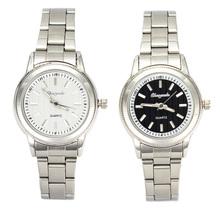 Fashion Women Men Stainless Steel Watches Black White Quartz Movement Wrist Watch