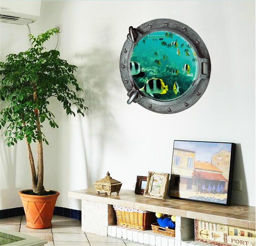 45x45cm Hot Sale Sealifes Wall Stickers Coral Shark Fish
