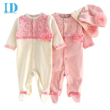 Princess Style Newborn Baby Girl Clothes Kids Girls Lace Baby Rompers+Hats Baby Clothes Sets Infant Jumpsuit Gifts JY0150(China (Mainland))