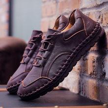 גברים עור סניקרס עיצוב מותג גברים נעליים יומיומיות אמיתי עור מוקסין סירת הליכה נעל שטוח אוקספורד גברים נעליים חדשות(China)