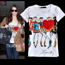 [Touch brand]2016 new women summer casual mo Diamond cartoon girl printing cotton short sleeve o-neck t shirt black tee Y03355(China (Mainland))
