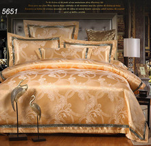 Luxury Golden silk bedding sets jacquard bed clothes AB side quilt/blanket cover flat bed sheet envelop pillowcases hot 5651(China (Mainland))
