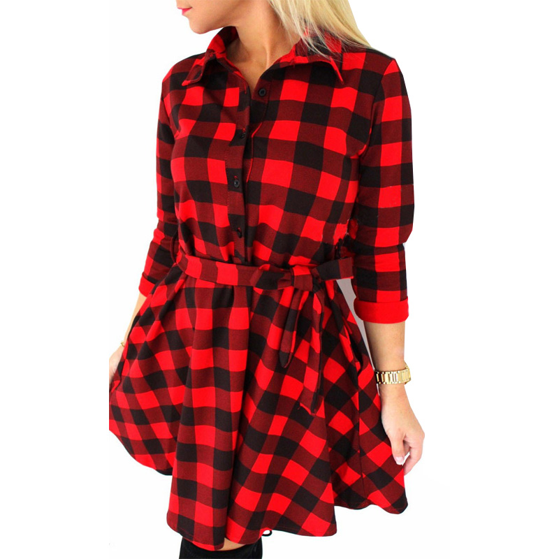 Luxury Plaid Shirt Dress Women Slim Vintage Ultra Long Plaid Shirts Dress