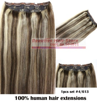 "16""-32"" 1Pcs Set Single Hairpieces 100% Brazilian Human Hair Clips In/on Extensions #4/613 70g 80g 100g 120g 140g 160g"