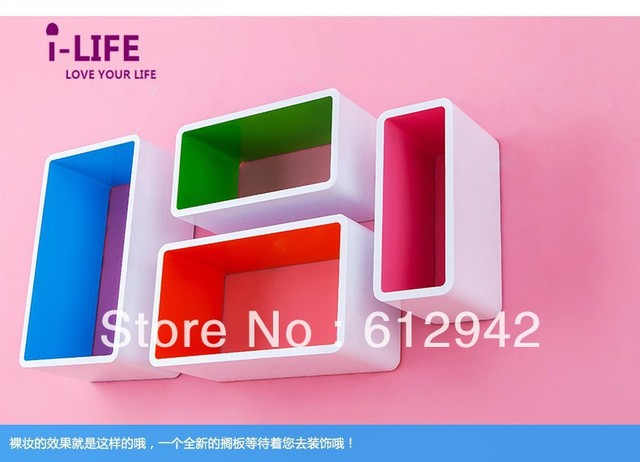 Only Wholesales 100PCS Four rectangle lattices MDF floating wall shelves/shelf wall mount by ocean shipping