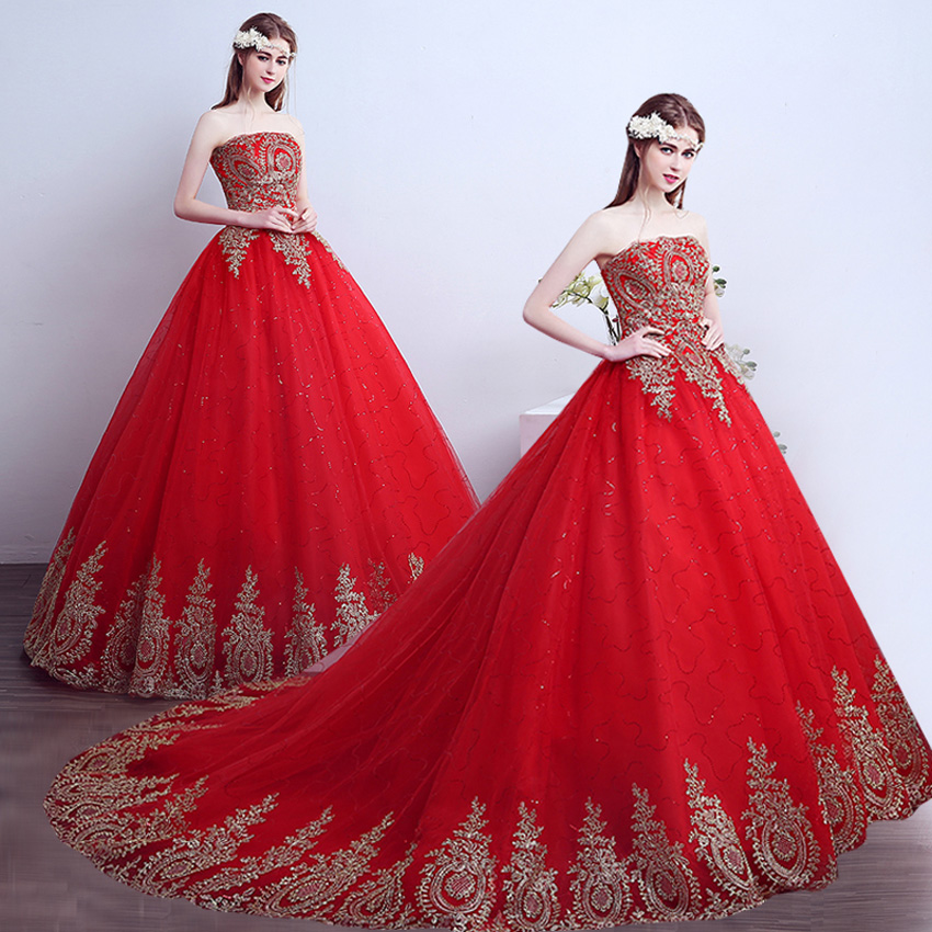 Compare prices on big fluffy wedding dress online for Big red wedding dresses