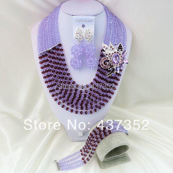 New Fashion Nigerian Wedding African Beads Purple Necklaces Bracelet Earrings Jewelry Set CPS-793<br><br>Aliexpress