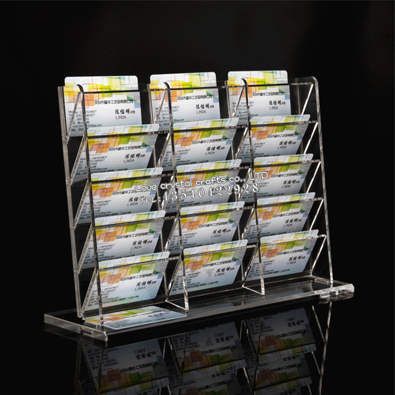 Factory Wholesale Business Acrylic Card Display Rack 15 Grid Transparent High-grade Multi-layer Show Publicity Office Supplies(China (Mainland))