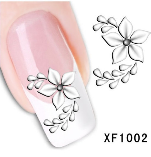 [D-XFXF1002]Free Shipping Fashion Style Watermark 1 Sheets 3D Design Pretty White Flower Tip Nail Art Nail Sticker & Decal(China (Mainland))