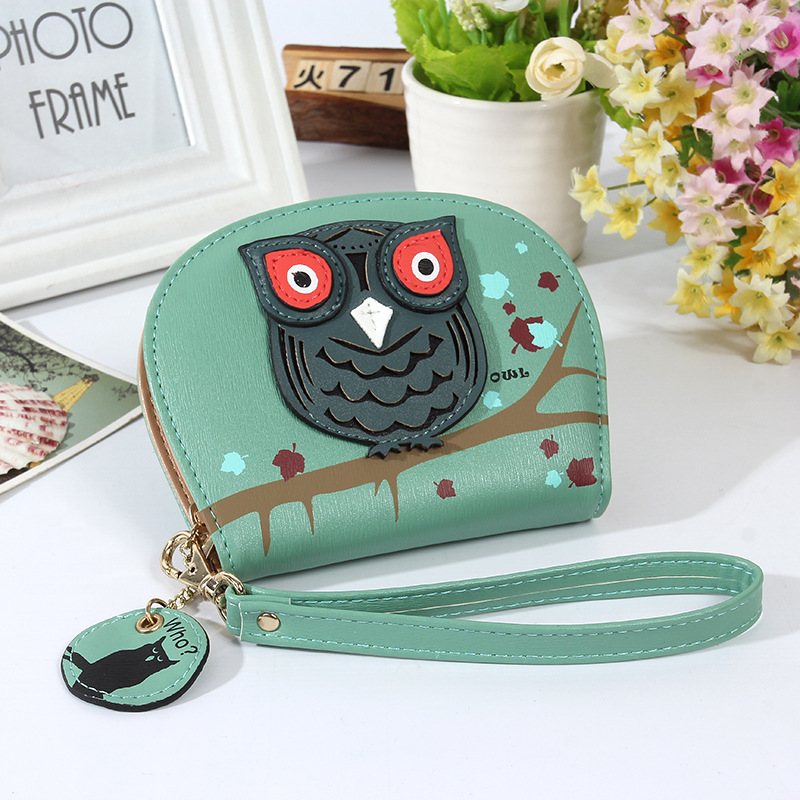 New Fashion Cartoon Mini Wallets Korean Owl Short Women Wallet Small Change Purse Ladies' Creative Clutch Card & ID Holders(China (Mainland))