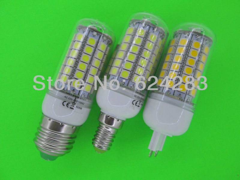 5050 69 LED Lamp 12W E27 E14 G9 LED Corn Bulb 1100LM Cold white / Warm White 360 Degree Light Bulb Lamp Energy Saving