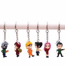 6pcs/set 4cm Naruto Kakashi Sasuke Gaara Figure Keychain PVC Action Figure Japan Anime Collections Gifts Toys #F