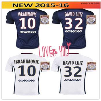 NEW IBRAHIMOVIC jerseys 2016 DAVID LUIZ T SILVA CABAYE home soccer jersey 15 16 LAVEZZI PASTORE CAVANI Maillot de football shirt(China (Mainland))