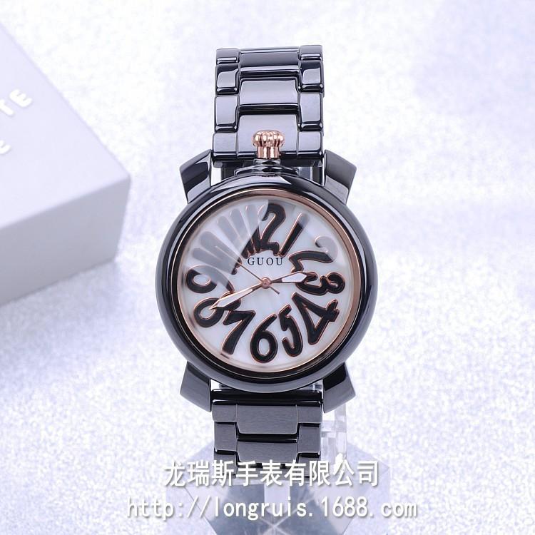 2016 Роскошный Бренд HK GUOU Высокое Качество Натуральной Керамической Цифровой Большой Циферблат Мода Черный Дамы Женщины Подарок Наручные Часы оптом
