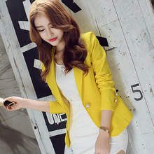 New Long-Sleeved Slim Women Blazers And Jackets Small Suit Korean Version Slim (Green Yellow Black)  Blazer Femme(China (Mainland))