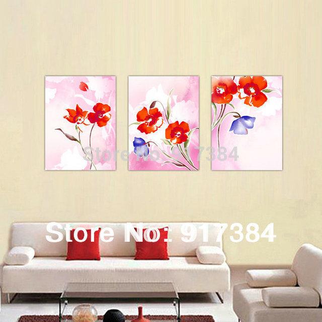Mooie moderne 3 stuks bloemen olieverfschilderij van de kunst aan de muur home deco set nieuwe - Deco leisteen muur ...