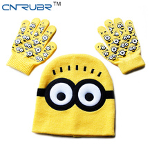 Hot ! Children's Cap + Gloves Hat Winter Cartoon Minions Glove Hats Sets Fashion Kids Baby Warm Knitted Caps Gloves Baby Beanies(China (Mainland))