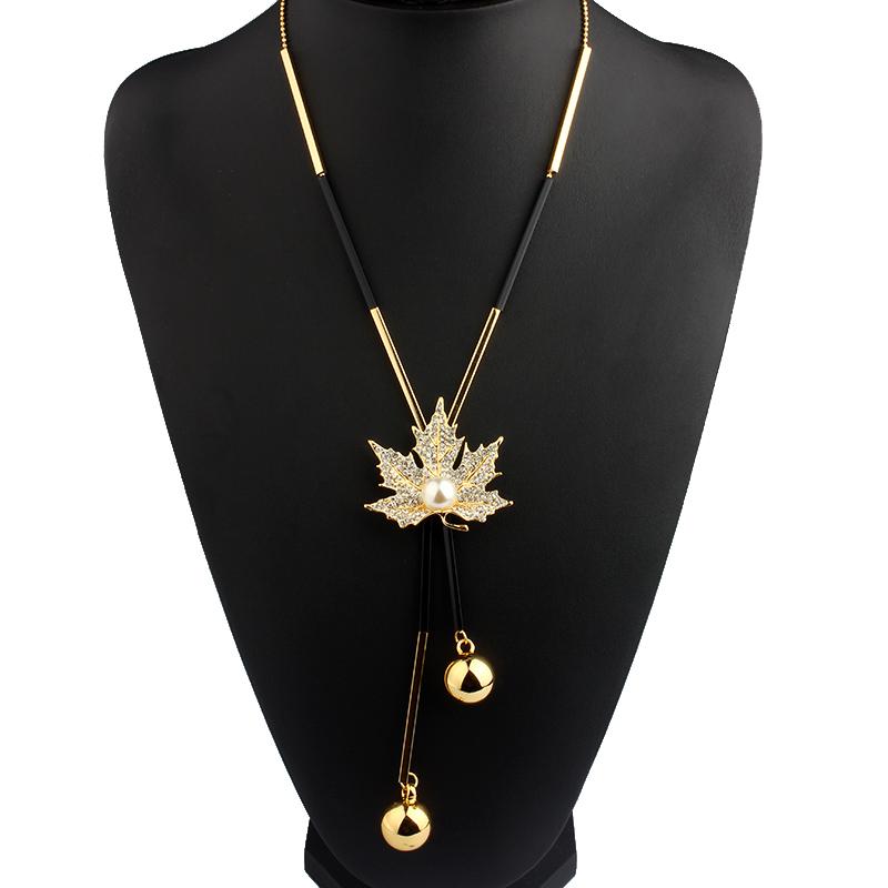 Lovely Maple Leaf Long Beaded Chain Tassel Pendant Necklace Women Office Lady Winter Imitation Pearl Beads