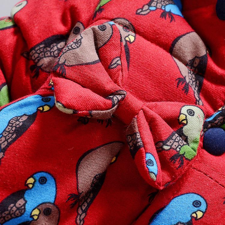 2016 Kış çocuk kapşonlu kabanlar coat parkas bebek kız kalın sıcak giyim seti toddler çocuk moda kuşlar bebek set
