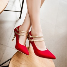 Sexy Pointed Toe Thin Heel women wedding shoes Plus size 30-47 fashion solid suede Mary Janes high heels small size 30 31 32 33(China (Mainland))