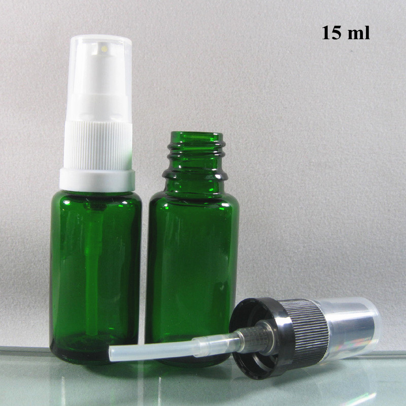 Wholesale 200pcs/lot 15ml Glass Bottle with Plastic Sprayer,15ml Green Glass Spray Bottle for Essential Oil or Eye Cream(China (Mainland))