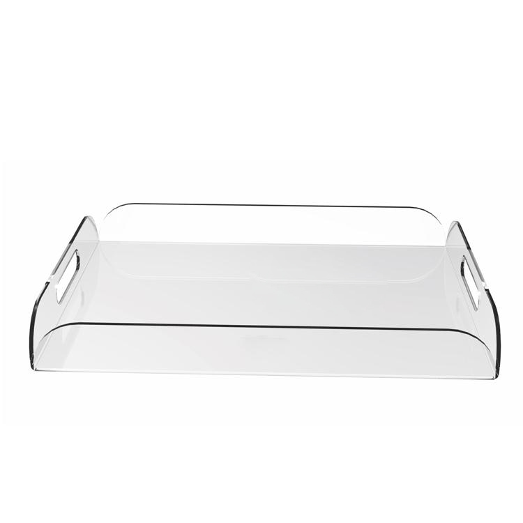 Clear Acrylic Breakfast Serving Tray With Handles Multipurpose Decorative Plexiglass Wine Glasses Tray(China (Mainland))