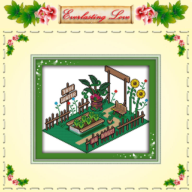 Vegetable garden flower diy cartoon painting Cross stitch DMC 14CT 11CT counted printed on fabric kits embroider needlework Sets(China (Mainland))
