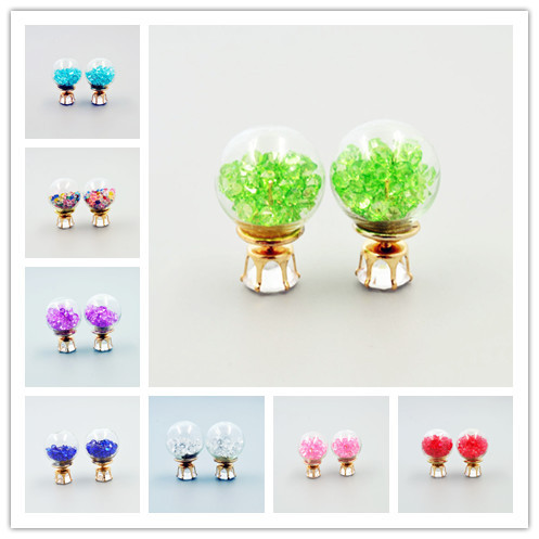 New fashion jewelry 16MM double side pearl big small rhinestone glass crystal zircon stud mix color gift for women girl E2702<br><br>Aliexpress