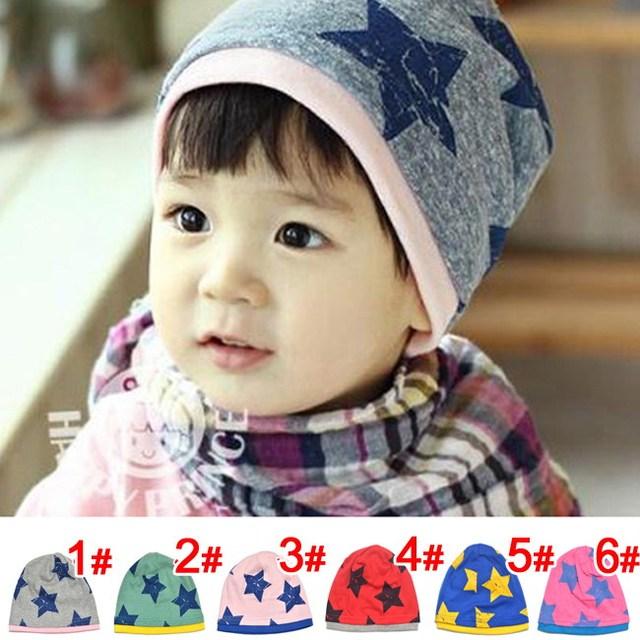 Бесплатная доставка большой пятизвездочный хлопка шапочки шляпы шапка на 1 - 4 года малыша ребенка зимние детские теплые аксессуары