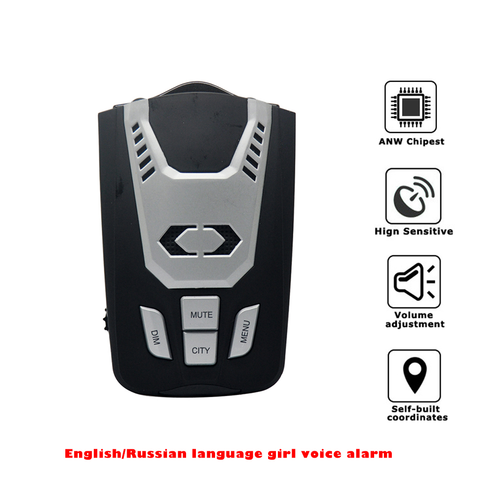 New radar detector Auto anti mobile overspeed detection with 360 degree k,ka,x,ct,strelka band English/Russian voice Alert(China (Mainland))