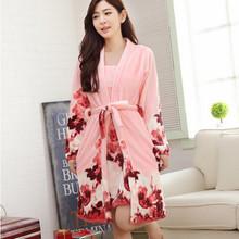New fashion winter sleepwear women robes flower Women's bathrobe Two pieces Home Women's Dresses flannel warm bathrobe Q772(China (Mainland))