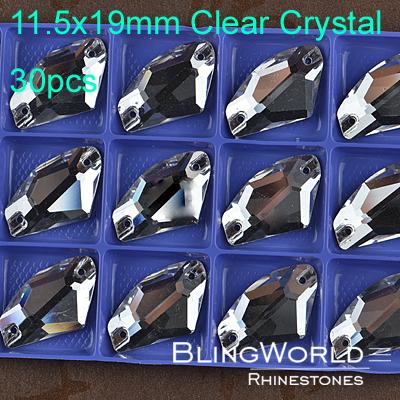 Bright luster 30pcs 11.5x19mm Clear Crystal Flatback Silver Base Ax Shape Sew On Rhinestones(China (Mainland))