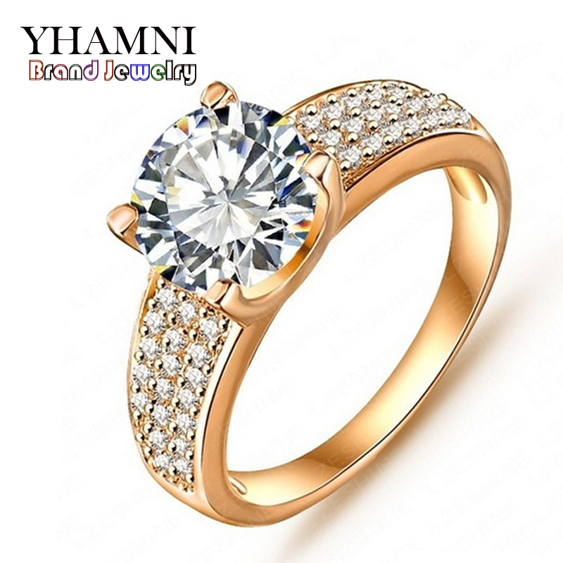 Big Promotion!!! Fashion 24K Gold Filled Wedding Rings For Women Engagement Jewelry Vintage Ring Zirconia Accessories BKJZ018(China (Mainland))