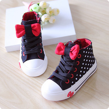 2015 spring autumn child canvas shoes high female child princess single shoes dot bow tie girls fashion sweet sneakers size23-37(China (Mainland))