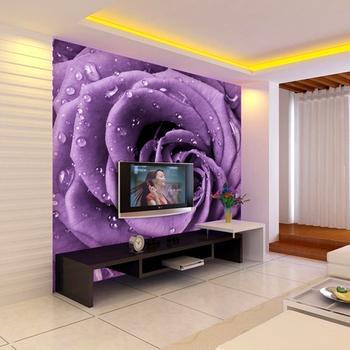 Grande murale in carta da parati matrimonio camera da letto soggiorno tv sfondo di purple rose - Camera da letto grande ...