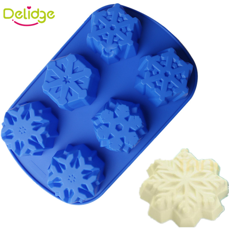 1 pc 6 Holes Snow Shape Moon Cake Mold Silicone Different Snowflacke Cake Mold Toast Bakery Pastry Bread Loaf Baking Mould(China (Mainland))