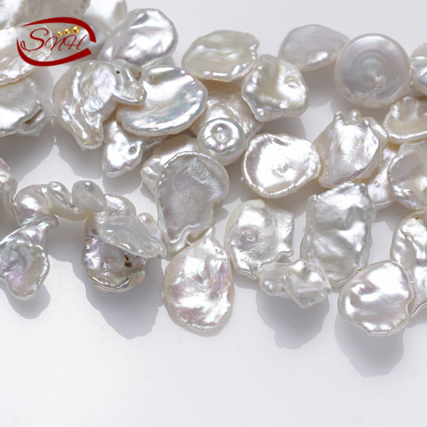 5 strands/package 14mm keshi big size real genuine cultured freshwater pearl strings(China (Mainland))