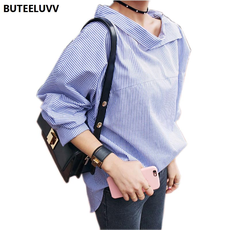 2016 Summer Tops Sexy Off The Shoulder Blouses Women Blue Striped Slash Neck Side Long Sleeve Casual Shirt Ladies Tops(China (Mainland))