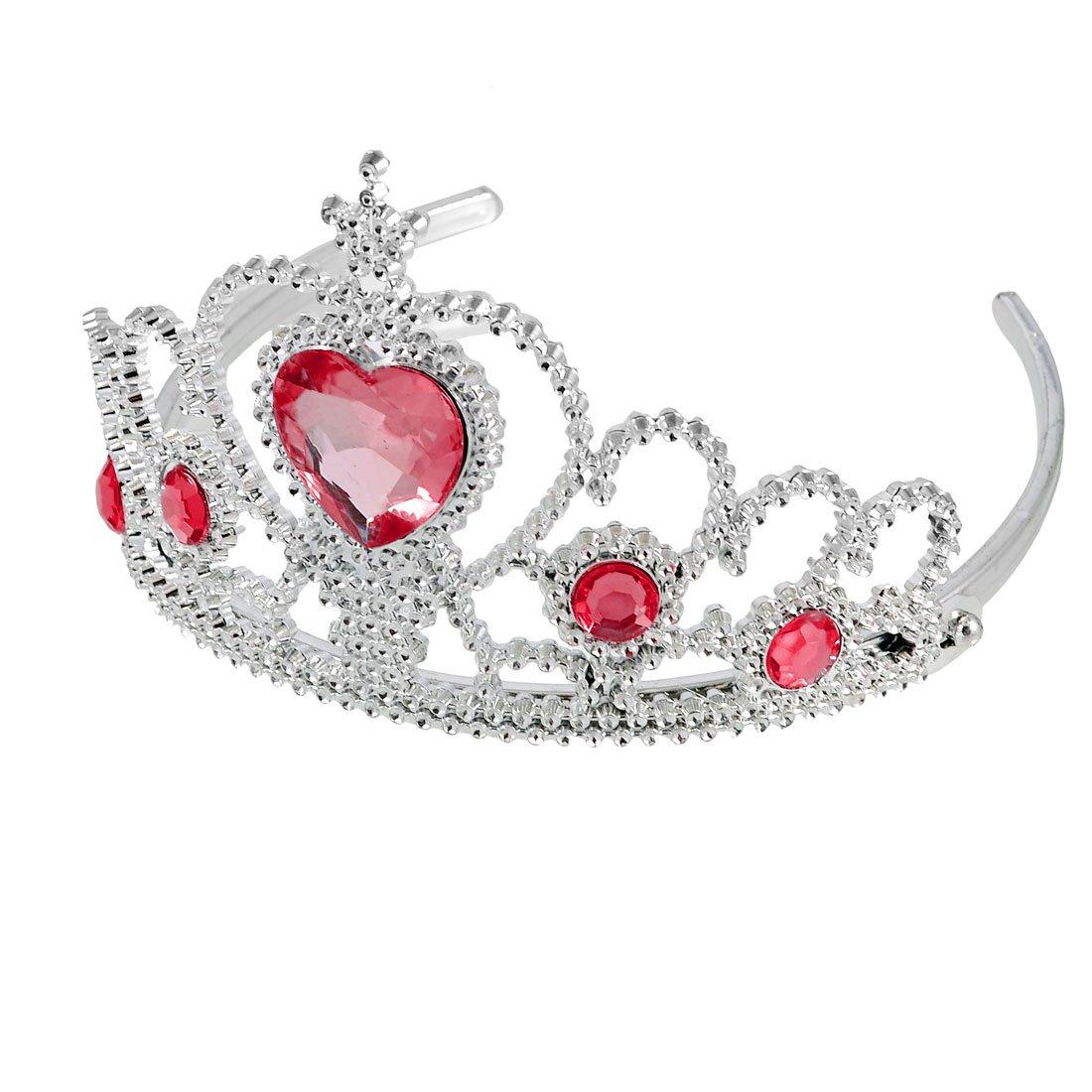 Nice Price! Rosallini Woman Party Crown Plastic Red Heart Round Rhinestone Headband Hair Band(China (Mainland))