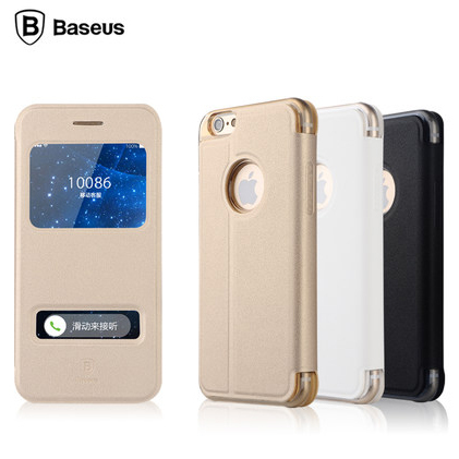 2015 Original Baseus Brand Flip Smart Case For iphone 6 4.7/ plus 5.5inch Cover Open Window View Stand Book Leather Phone Pouch(China (Mainland))