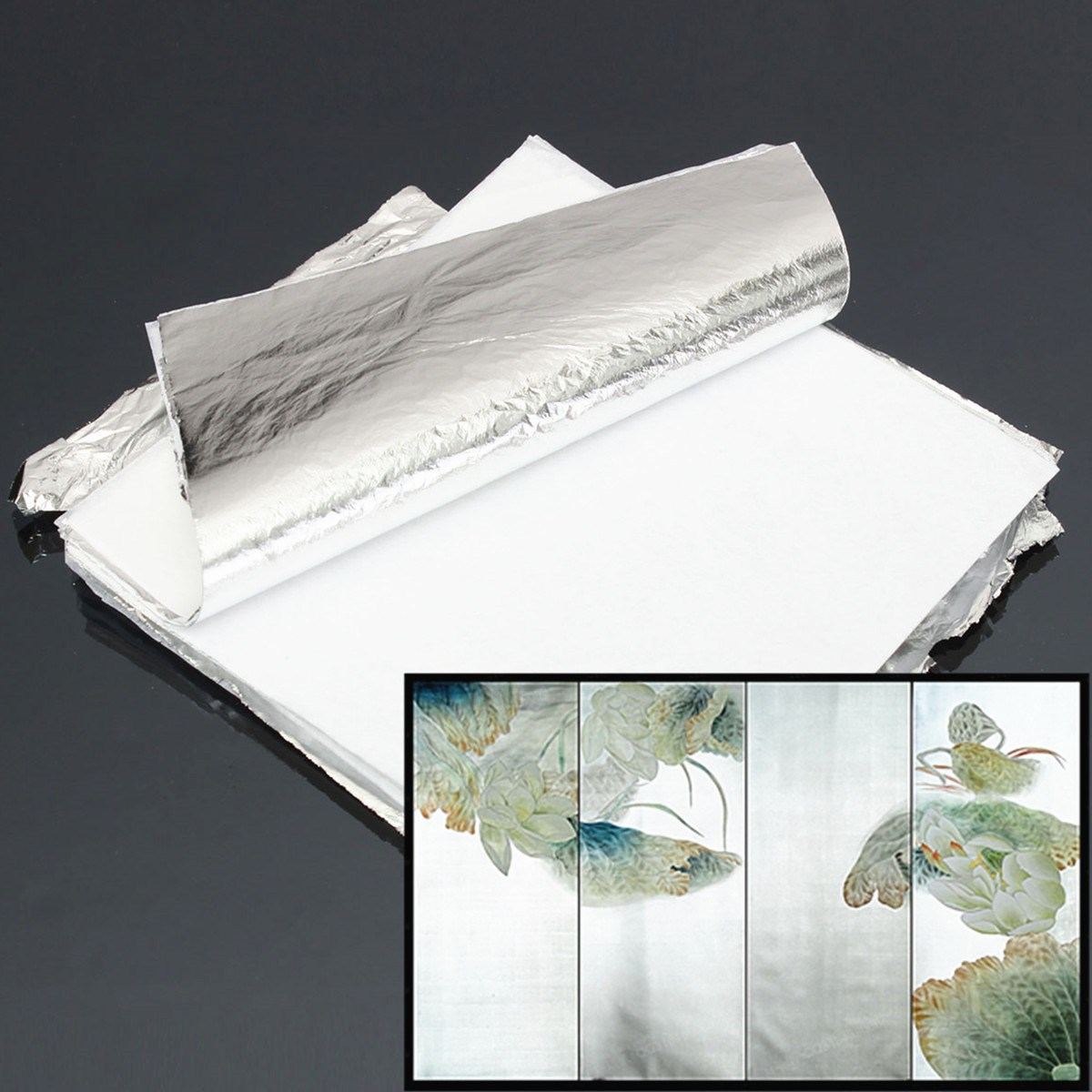Best Promotion Beautiful design Imitation Silver Leaf Aluminum Leaf 14x14cm 100 Sheets Gilding Craft DIY Wholesale price(China (Mainland))
