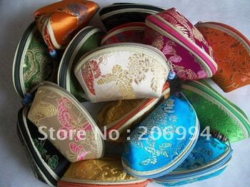 Wholesale 11X5.5X6.5cm Silk embroidery jewelry pack bags (many color mixture) 30pc/lot