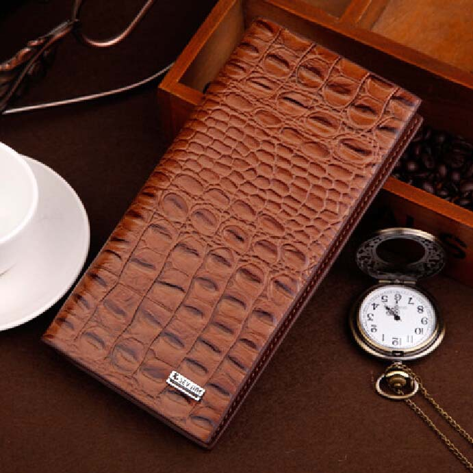 New come long wallet leather brand women/men wallets Crocodile Brown purse wholesale fashion leather wallet(China (Mainland))