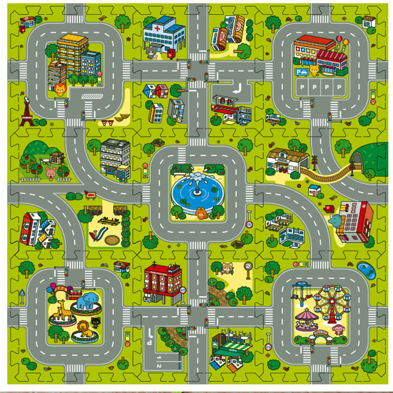 2016 New! 9pcs Baby EVA foam puzzle play floor mat,Education and interlocking tiles and traffic route ground pad (no edge)(China (Mainland))